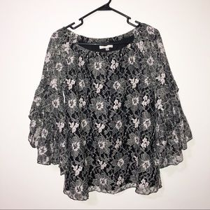 Fever black & white lace ruffle bell sleeve top Sm